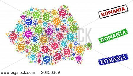 Vector Covid Mosaic Romania Map, And Grunge Romania Seals. Vector Colored Romania Map Mosaic, And Ro