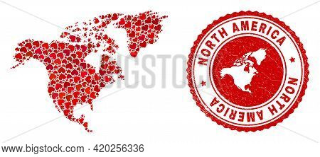 Mosaic North America Map Created From Red Love Hearts, And Grunge Badge. Vector Lovely Round Red Rub