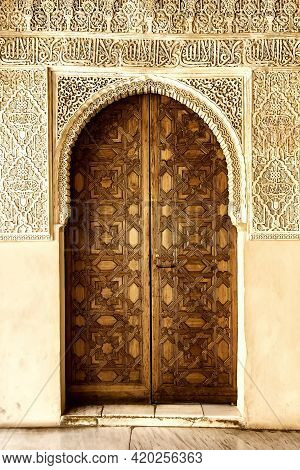 A Door Decorated In Arabic Style In Alhambra Moorish Palace In Granada, Andalusia, Spain