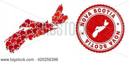 Mosaic Nova Scotia Province Map Created With Red Love Hearts, And Corroded Stamp. Vector Lovely Roun
