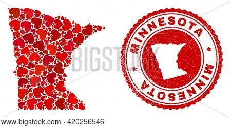 Mosaic Minnesota State Map Composed With Red Love Hearts, And Dirty Stamp. Vector Lovely Round Red R