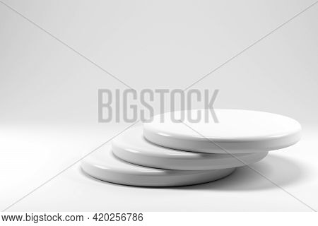 Shiny And Glossy White Round Pedestal Podium Isolated On White Background. 3d Render. Abstract High