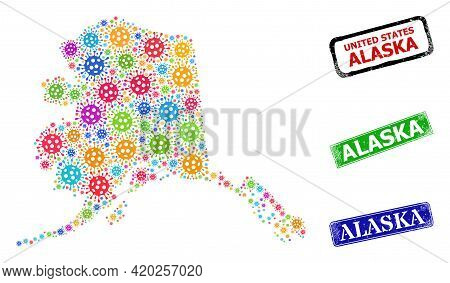 Vector Virus Collage Alaska Map, And Grunge Alaska Seal Stamps. Vector Multi-colored Alaska Map Coll