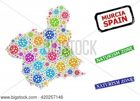Vector Covid Collage Murcia Province Map, And Grunge Naturism Zone Badges. Vector Multi-colored Murc