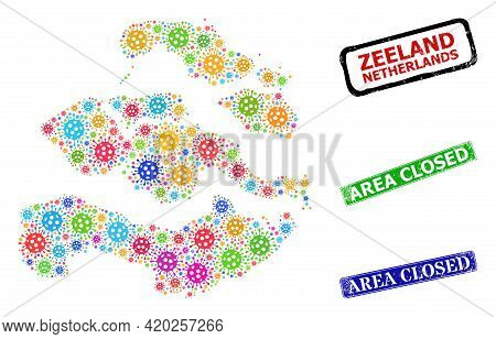 Vector Bacterium Collage Zeeland Province Map, And Grunge Area Closed Seals. Vector Colored Zeeland