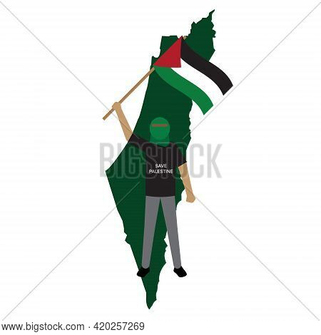 A Vector Of Men Waving Palestine Flag And Map With Save Palestine Word. Palestinian Are Still Fighti
