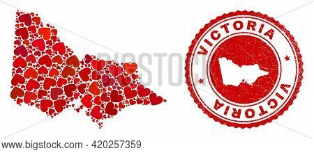 Collage Australian Victoria Map Formed With Red Love Hearts, And Rubber Seal. Vector Lovely Round Re