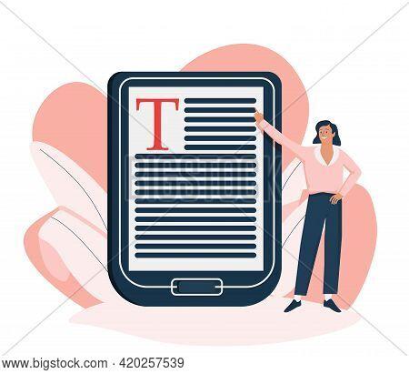 Internet School Graduation, Professional Teacher Service, Electronic Book Device Icon. Digital Learn