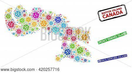 Vector Covid Mosaic Baffin Island Map, And Grunge Prince Edward Island Seals. Vector Multi-colored B