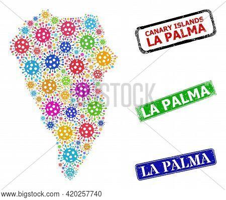 Vector Virus Collage La Palma Island Map, And Grunge La Palma Seal Stamps. Vector Multi-colored La P