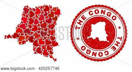 Mosaic Democratic Republic Of The Congo Map Formed With Red Love Hearts, And Corroded Seal Stamp. Ve