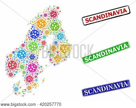 Vector Covid-2019 Mosaic Scandinavia Map, And Grunge Scandinavia Seal Stamps. Vector Multi-colored S