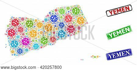 Vector Contagious Mosaic Yemen Map, And Grunge Yemen Stamps. Vector Multi-colored Yemen Map Mosaic,