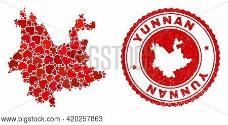 Collage Yunnan Province Map Designed With Red Love Hearts, And Rubber Seal. Vector Lovely Round Red
