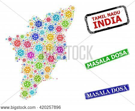 Vector Covid-2019 Collage Tamil Nadu State Map, And Grunge Masala Dosa Stamps. Vector Vibrant Tamil