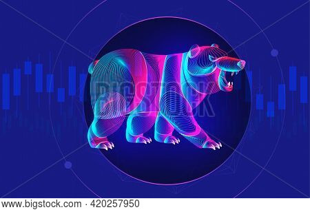 Trading And Finance Investment Strategy Concept With Abstract Bearish Silhouette And Candlestick Cha