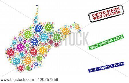 Vector Virus Mosaic West Virginia State Map, And Grunge West Virginia State Seals. Vector Vibrant We