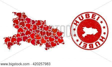 Collage Hubei Province Map Created With Red Love Hearts, And Grunge Stamp. Vector Lovely Round Red R