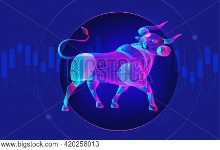 Trading And Finance Investment Strategy Concept With Abstract Bullish Silhouette And Candlestick Cha