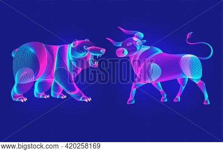 Trading And Finance Investment Strategy Concept With Abstract Bullish And Bearish Silhouettes With C