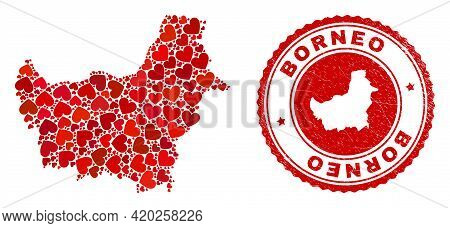 Collage Borneo Map Composed With Red Love Hearts, And Grunge Badge. Vector Lovely Round Red Rubber S