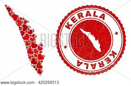 Collage Kerala State Map Designed With Red Love Hearts, And Grunge Stamp. Vector Lovely Round Red Ru
