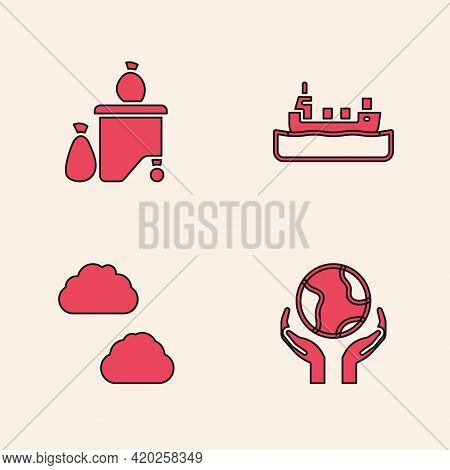 Set Hands Holding Earth Globe, Full Dustbin, Oil Tanker Ship And Cloud Icon. Vector