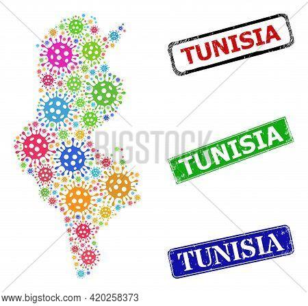 Vector Bacilla Mosaic Tunisia Map, And Grunge Tunisia Seals. Vector Colorful Tunisia Map Mosaic, And