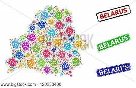 Vector Virulent Mosaic Belarus Map, And Grunge Belarus Seal Stamps. Vector Multi-colored Belarus Map