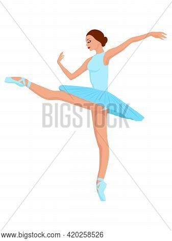 Beautiful Ballerina In Pale Blue Tutu Dress, Hand Drawing Vector, Isolated On The White Background