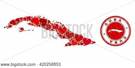 Collage Cuba Map Composed With Red Love Hearts, And Rubber Stamp. Vector Lovely Round Red Rubber Sea