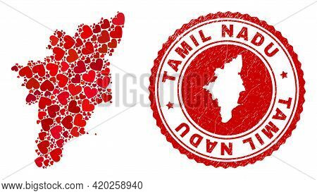 Mosaic Tamil Nadu State Map Formed With Red Love Hearts, And Corroded Seal Stamp. Vector Lovely Roun