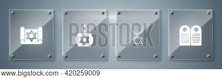 Set Tombstone With Star Of David, Star David Necklace Chain, Burning Candle And Torah Scroll. Square