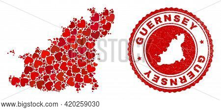 Mosaic Guernsey Island Map Created With Red Love Hearts, And Scratched Stamp. Vector Lovely Round Re