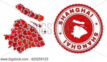 Mosaic Shanghai City Map Created With Red Love Hearts, And Corroded Seal. Vector Lovely Round Red Ru