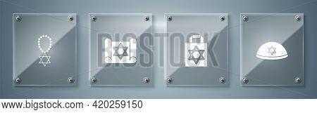Set Jewish Kippah, Shopping Bag With Star Of David, Torah Scroll And Star David Necklace On Chain. S