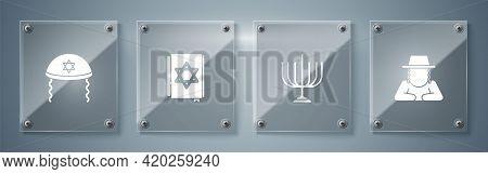 Set Orthodox Jewish Hat, Hanukkah Menorah, Jewish Torah Book And Kippah. Square Glass Panels. Vector