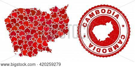 Mosaic Cambodia Map Formed With Red Love Hearts, And Rubber Stamp. Vector Lovely Round Red Rubber Se