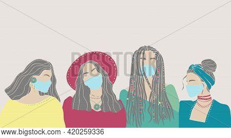 Beautiful Hand Drawn Character Women Face Mask Drawn On White Background. Coronavirus Epidemic Prote