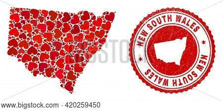 Collage New South Wales Map Formed With Red Love Hearts, And Rubber Stamp. Vector Lovely Round Red R