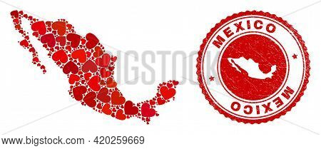 Mosaic Mexico Map Created With Red Love Hearts, And Textured Badge. Vector Lovely Round Red Rubber B