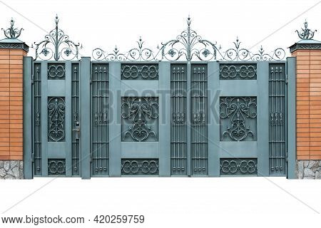 Wrought Iron Gates With Doors. Isolated On White Background.