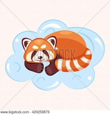 Vector Illustration Of A Sleeping Red Panda On A Blue Cloud. Cute Picture Of A Wild Animal In Cartoo