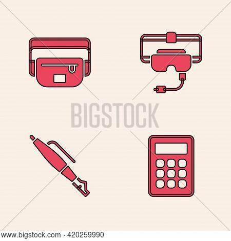 Set Calculator, Waist Bag Of Banana, Virtual Reality Glasses And Fountain Pen Nib Icon. Vector