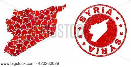 Collage Syria Map Created With Red Love Hearts, And Textured Seal Stamp. Vector Lovely Round Red Rub