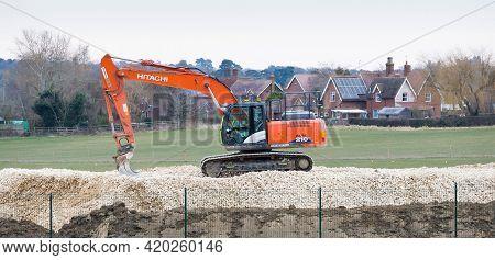 Buckinghamshire, Uk - February 13, 2021. Heavy Machinery On A Railway Construction Site Near Verney