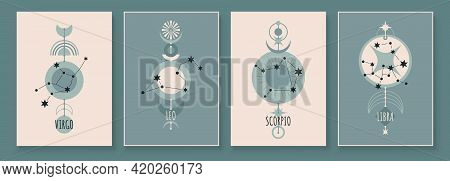 Abstract Art With Zodiac Celestial Sign And Constellation. Virgo, Leo, Scorpio, Libra. Wall Art In V