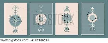 Abstract Art With Zodiac Celestial Sign And Constellation. Cancer As Crab, Taurus As Bull, Aries As