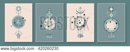 Abstract Art With Zodiac Celestial Sign And Constellation. Virgin, Lion, Scorpion, Balance. Wall Art