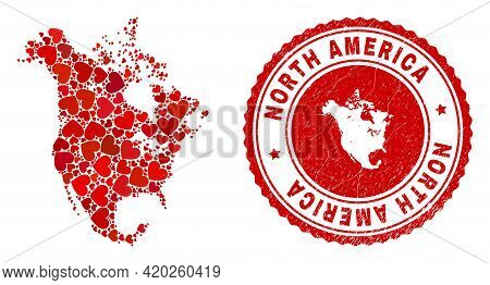 Collage North America V2 Map Formed From Red Love Hearts, And Dirty Seal Stamp. Vector Lovely Round